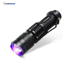 2017 NEW CREE LED UV Flashlight SK68 Purple Violet Light UV 395nm torch Lamp free shipping