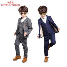 2017 Brand New 4PCS Boys Solid Wedding Suit England Style Gentle Boys Formal Suit Children Spring Clothing(China)