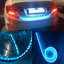 Car-Styling Dynamic Streamer Trunk Strip Flow Led Lights Universal For Car Trunk Tailgate Reverse Brake Turn Signal DRL Light(China)