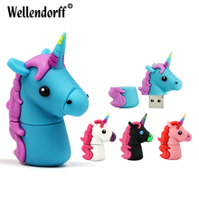 Colorful Unicorn USB Flash Drive 32GB 64GB Pendrive 16GB 8GB Waterproof Pen Drive USB 2.0 USB Stick Memory Stick USB Flash(China)