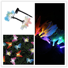 12 Led Solar Powered Butterfly Fibre Optic Fairy String Outdoor Garden Lights