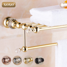 XOXO Brass+Crystal Titanium Gold Plating Towel Rack,towel Shelf with Bar,towel Holder 12020GS(China)