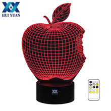 HUI YUAN Apple 3D Night Light RGB Changeable Mood Lamp LED Light AC 5V USB Decorative Table Lamp Get a free remote control