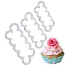 3pcs/set Cake Gumpaste Sugarcraft Easiest Rose Ever Cutter Cookie Cutter Fondant Decorating Sugarcraft Rose Flower Mold D0104(China)