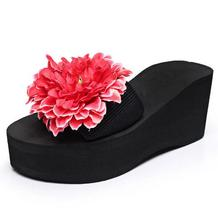 Flowers Wedges Sandals Summer Platform Flip Flops Slip On Creepers Casual Flats Shoes Woman 8 Colors Size 35-42 P196