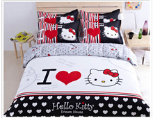 New 2015 Hot Sale 4PCS Bedding Sets Children Cartoon Bed Set Pink Hello Kitty Style Twin/Full/Queen Size Duvet Cover Bed Sheet