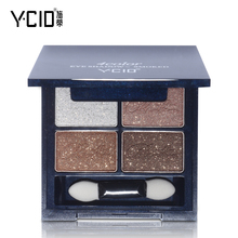 Fashion YCID Smoked Luster 4 Color Mineral Eye Shadow Palette Makeup Shimmer Matte Naked Eyeshadow Cosmetics With Make Up Brush