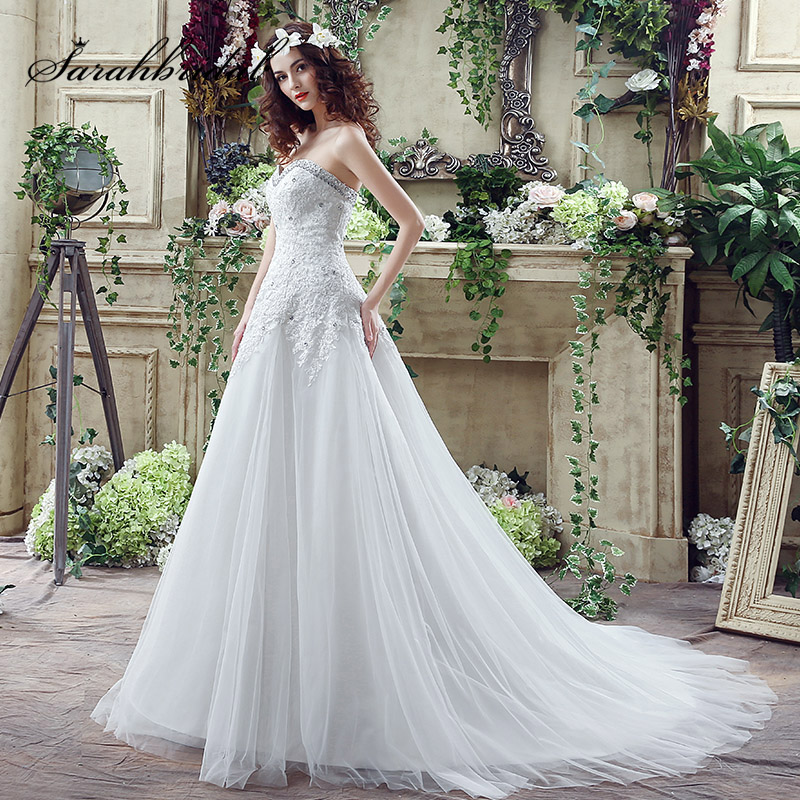 Sexy Sweetheart Wedding Dresses 2018 New Arrival Tulle with Appliques Rhinestone Lace Up A-Line Bridal Gown Plus Size SQ044
