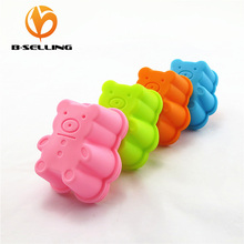 12PCS/Lot  4 colos Soft Bear shape Silicone 3D CupCake Mold and  Chocolate Gelatine cake Baking Mold Tools