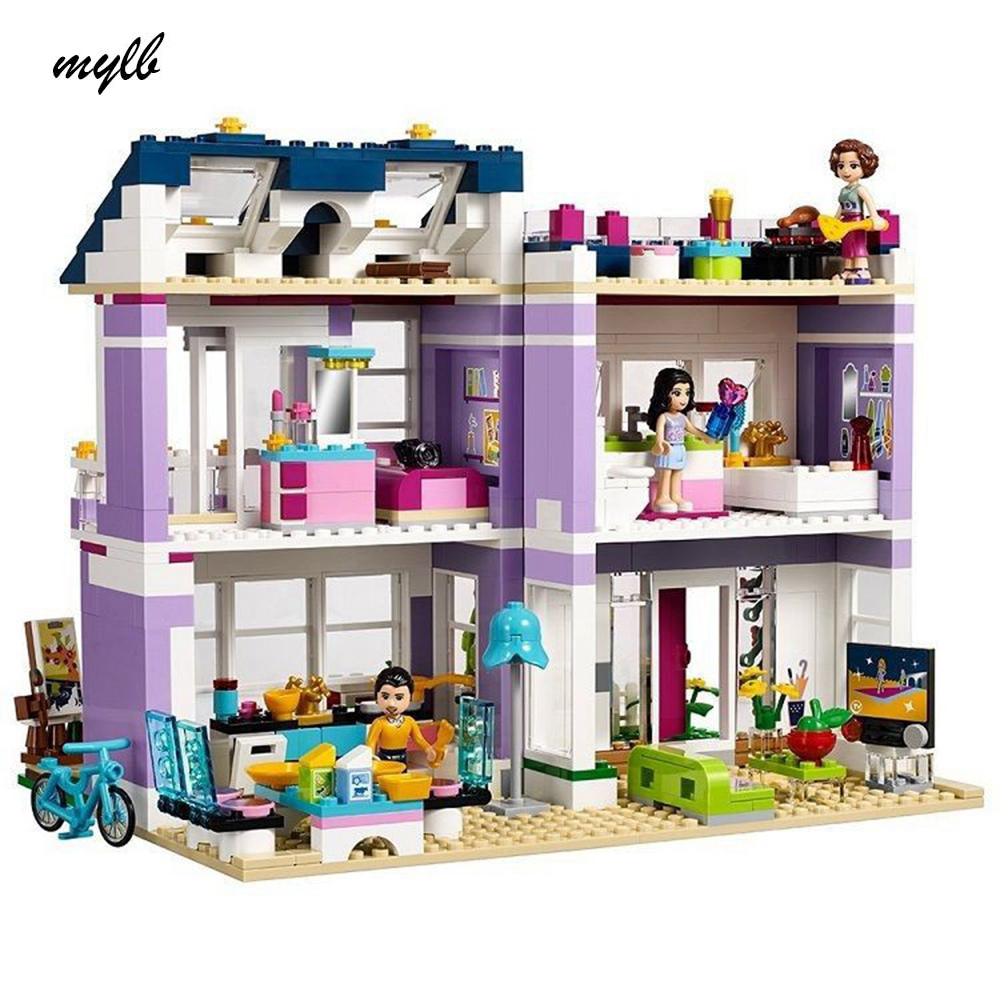 mylb Friends Emmas House building Blocks Bricks Toys Girl Game Toys for children Gift Compatible with DIY<br>