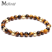Mcllroy Men Nature stone Red Coral Lucky bracelet jewelry male mens bracelets Silver pulseras mujer braccialetti uomo Beaded(China)