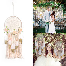 1PC Wedding Hanging Dream Catcher Large Circle DIY Decoration Craft Shabby Chic Home Decor Feather Bedding Dreamcatcher For Sale(China)