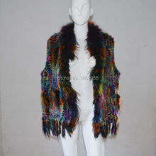 SJ005 Pupolar Cheap Quality Plus Size Colorful Rabbit Knitting Fur Vest with Raccoon Collar and Tassels Clothing Big Sizes Vest