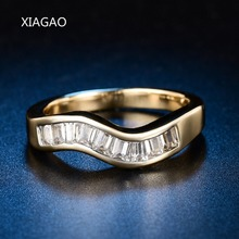 XIAGAO 30% OFF! Women's Ring Gold Color with Top Class 10 pcs Rhinestones Studded Elegant Wedding Ring Wave Jewelry ZR585