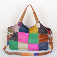 Caerlif new leather soft suede  splicing BaoMinZu wind personality bump color pack one shoulder handbag locomotive carrying bag
