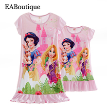 Summer casual style Milk silk fabric cartoon princess striped short sleeve nightgown mother daughter dresses matching Retail