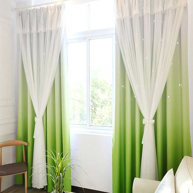 Stars Hollow blackout gradient window curtains with white lace tulle for  living bedroom home decor