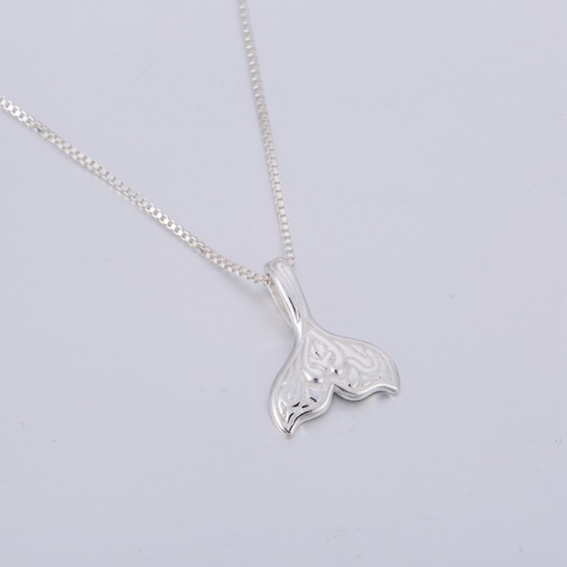 Floral Mermaid Tail Silver Necklace