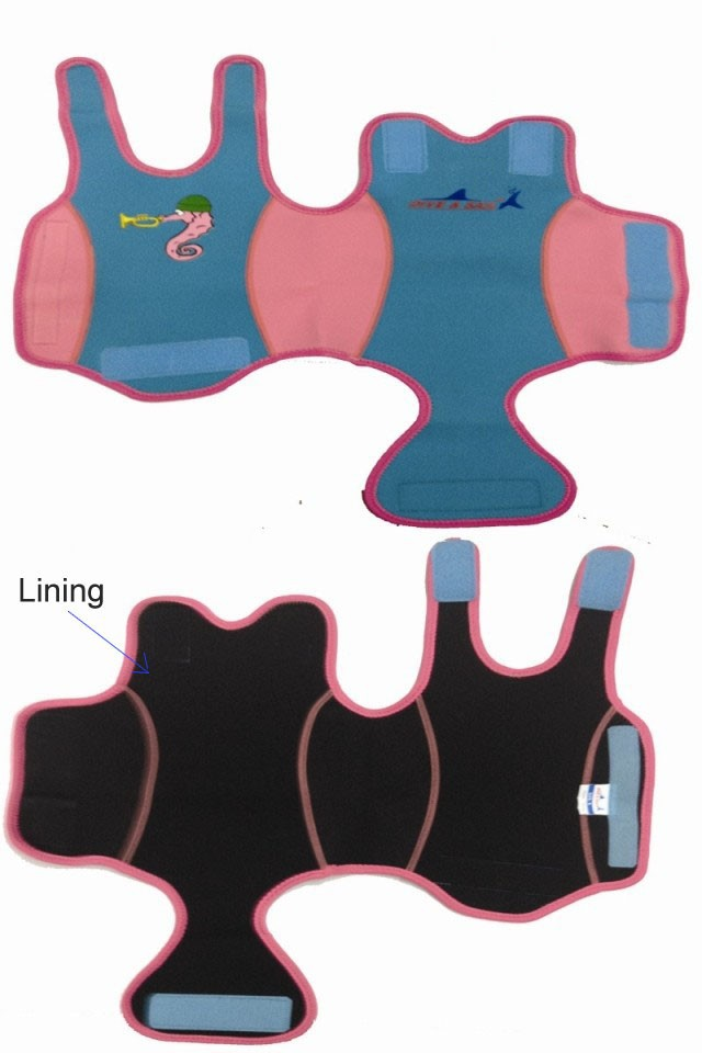 WDS-8005-2  Soles Up Front Baby Wetsuit Baby Warmer. 2mm Neoprene Wet Suit for swimming pool or beach. Opens out flat for easy fitting
