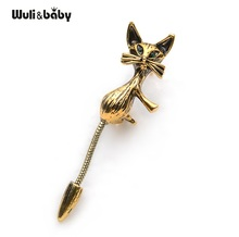 Banquet Cute Gold And Silver Color Long Tail Cat Brooch Suits Shirt Scarf Men And Women Brooches Pin Size 4.9*1.8CM(China)