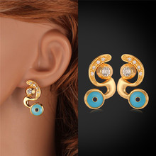 New Hot Blue Lucky Evil Eyes Studs Earrings Gold Color Clear Austrian Rhinestone Studs Women Jewelry Gift MGC E3075(China)