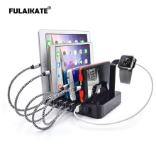 FULAIKATE 50W Fast Charging Stand for iPhone 6 Plus Desktop Docking Station for Tablet PC 6 USB Ports Mobile Phone Holder(China)
