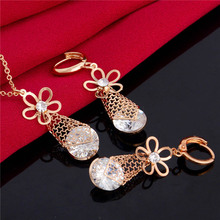 H:HYDE Fashion Unique Jewelry Sets for Wedding Zircon Flower Pendant Necklace Hoop Earrings Gold-Color Bridal Jewelry Sets