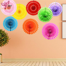 20cm Cheap Paper Fans For Wedding Tissue Paper Fans Flowers Birthday Party Holiday Supplies Wedding Favors(China)