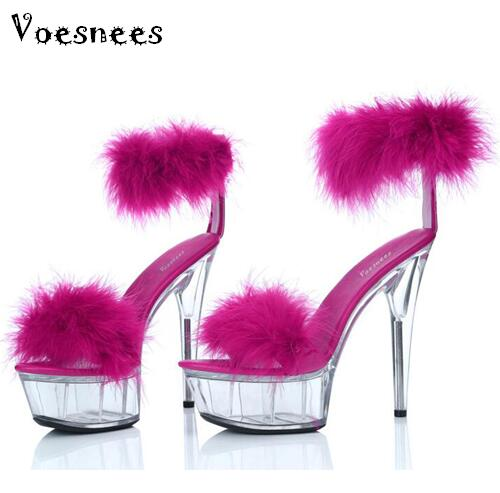 Sandals women Platform model T Stage Shows 2015 Summer Shoes Sexy High-heeled 15cm shoes Feathers Bride Wedding Shoe Plus-size<br>