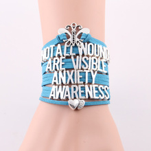 Not all wounds are visible anxiety awareness bracelet butterfly charm rope leatter bracelets & bangles for men women jewelry