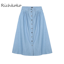 Richkoko Autumn New Jeans A-Line Long Skirts Casual High Waist Single Buttons Maxi Skirt Side Pockets Street Style Denim Skirts