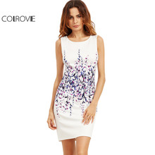 Buy COLROVIE White Floral Print Work Tank Dress 2017 Plus Size Women Sheath Sleeveless Summer Dresses Back Zip Elegant Mini Dress for $13.98 in AliExpress store