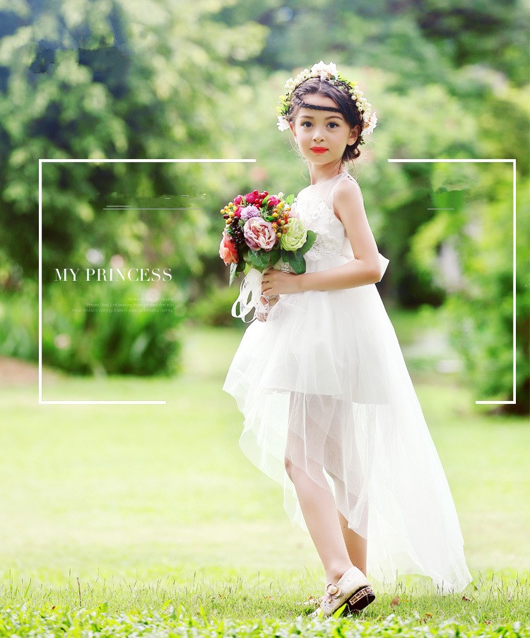 100% real photos Hot Sale Flower Girl Dresses For Weddings Elegant Trailing Gown Flower Girl Gowns For Kids 2016 Free Shipping<br>