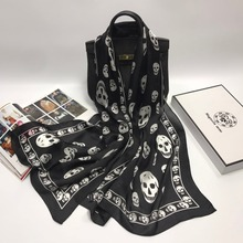 2017 NEW Skull Scarf Woman High Quality 100% Silk Fashion Luxury Brand New 65 * 170CM Hot Shawl Costume Accessories