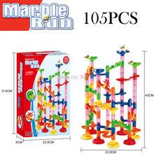 NEW 105,29pcs DIY Construction Marble Race Run DIY Construction Kids Toy Game Maze Buliding Block Tower educational toys(China)