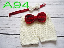 free shipping,baby handmade crochet Bow tie with matching Straps shorts for Newborn Photo Prop NB-3M 100% cotton