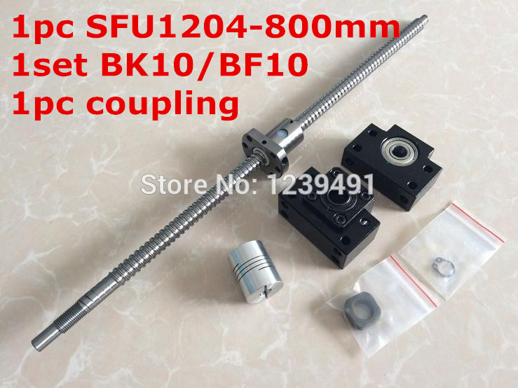 ball screw set 1204- 800mm with end machined + single ball nut + BK/BF10 end support + coupler for  cnc parts<br>