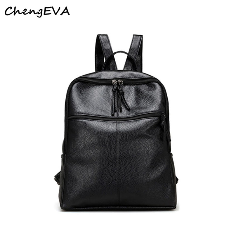 New Casual Hot Attractive Luxury Black Leather Satchel Shoulder Women Backpack School Travel Rucksack Bags Free Shipping Jan 12<br><br>Aliexpress