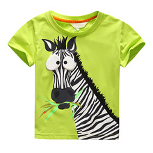 New Summer T-shirt for Children Boy Tee Shirt Garcon Zebra Pattern Children's T-shirts for Boys Kids Tops Clothes Casual 3-7Yrs