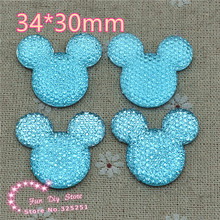 light blue mickey 34*30mm 30pcs resin flat back cabochon for hair bow center scrapbooking