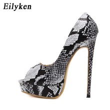 Eilyken Snake Printed c Pumps Shoes Sexy High Heels 2018 New Spring Peep Toe Party Women Pumps shoes size 35-40(China)