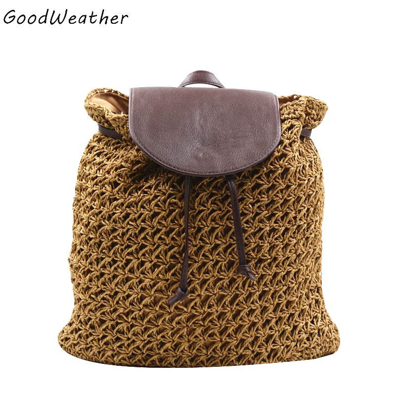 Vintage straw backpack designer hollow out woven drawstring laides bags small summer beach backpacks 4 colors mochilas feminina<br><br>Aliexpress