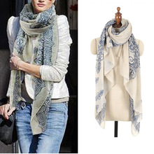 2015 160*70cm High quality Blue and White Porcelain Style Thin Section the Silk Floss Women Scarf Shawl(China)