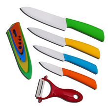 "Home Kitchen Knives Ceramic Knife and Accessories Set Fruit Utility Chef 3"" 4"" 5"" 6"" inch with Peeler Dining Bar Black Handle"