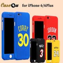 Michael Jordan Air 23 Kobe Bryant Curry Full Body Case Cover fundas iPhone 7 plus 6 6s plus 360 Case Basketball+Temper Glass