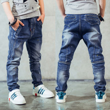 Boy's jeans, Children's clothing boys jeans spring and autumn splash-ink children pants 3 4 5 6 7 8 9 10 11 12 13 14 years old(China)
