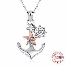 YFN Genuine 925 Sterling Silver Ship Anchor Pendant Rose Gold Star Crystal CZ Pendant Necklace Fashion Jewelry Gift For Women(China)