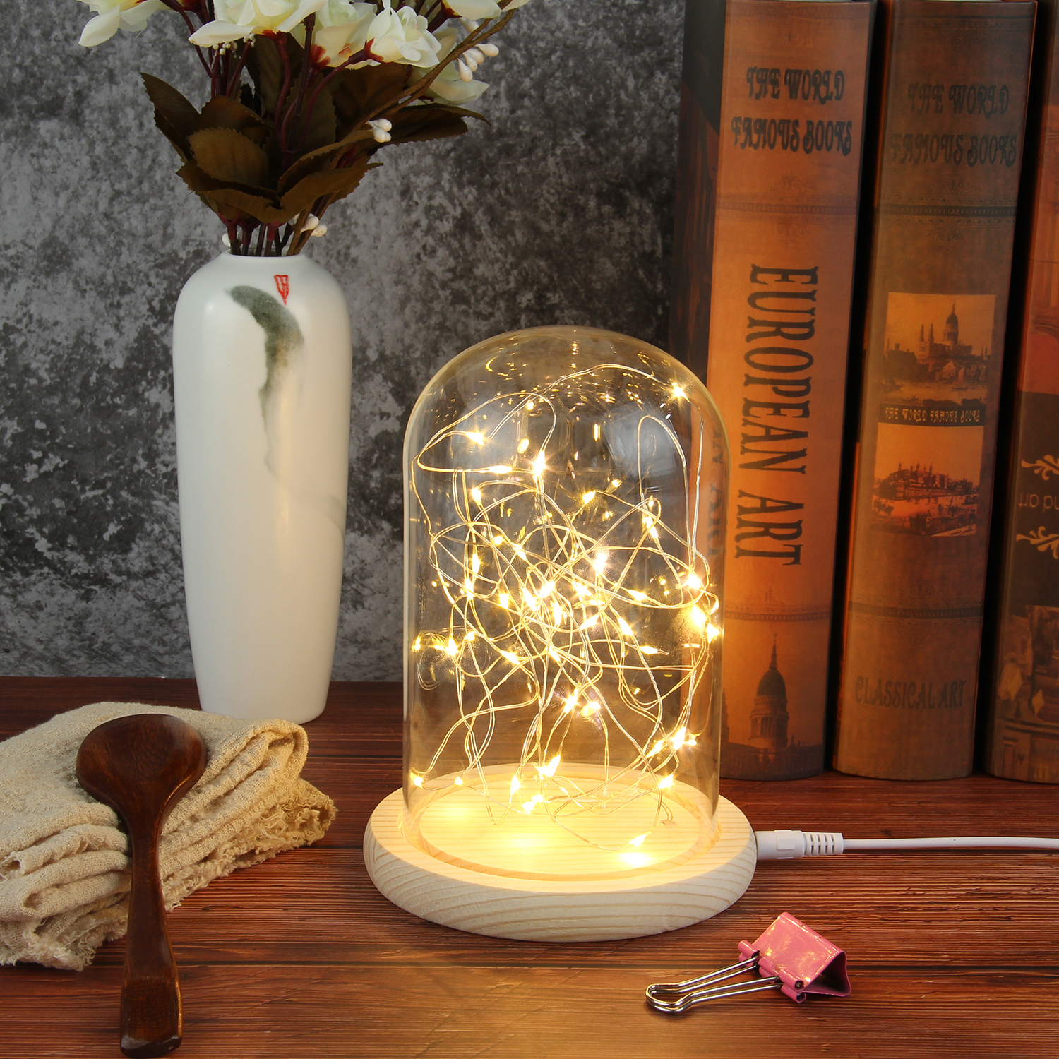 Creative Glass Dome Bell Jar Display Wooden Base with LED Light Warm Fairy Starry String Lights Desk Ornament for Home Decor 1
