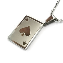 Unique style Fashion etching poker pendant 316L stainless steel jewelry Jesus pendant necklace for gift(China)