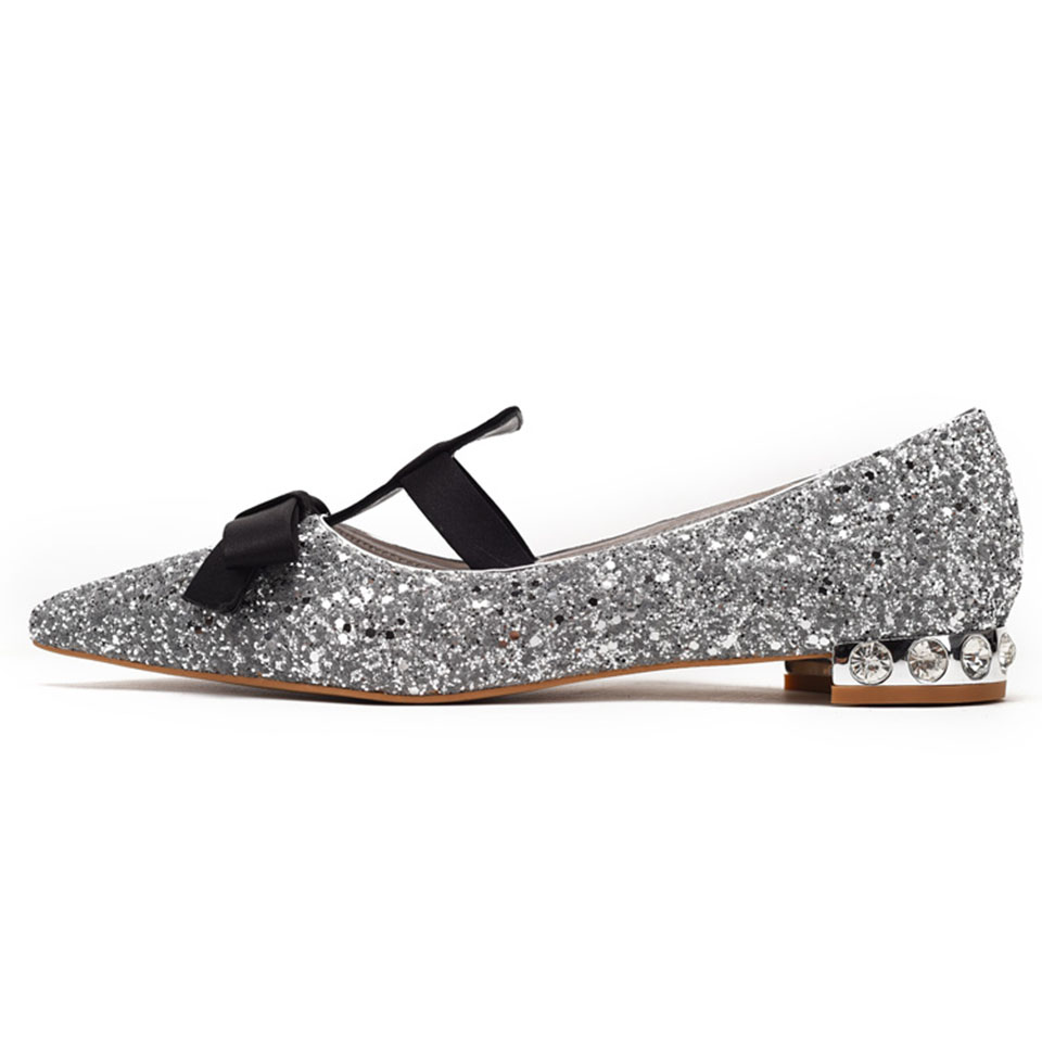 Detail Feedback Questions about Silver Sparkling Women Flats Mary ... 8d32a876354c